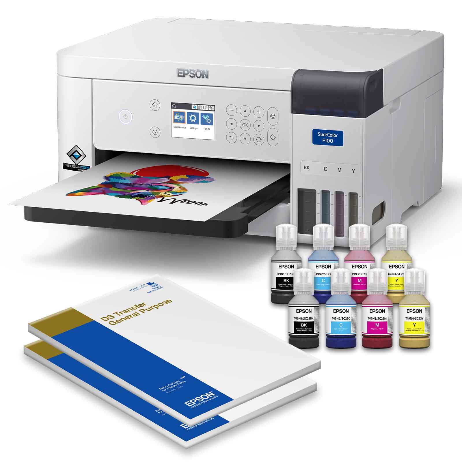 Epson SureColor SC-F500 Einführungs-Set Inhalt - Epson Surecolor SC-F100 140ml Tinte und DS-Transfer-Vielzweckpapier DIN-A4