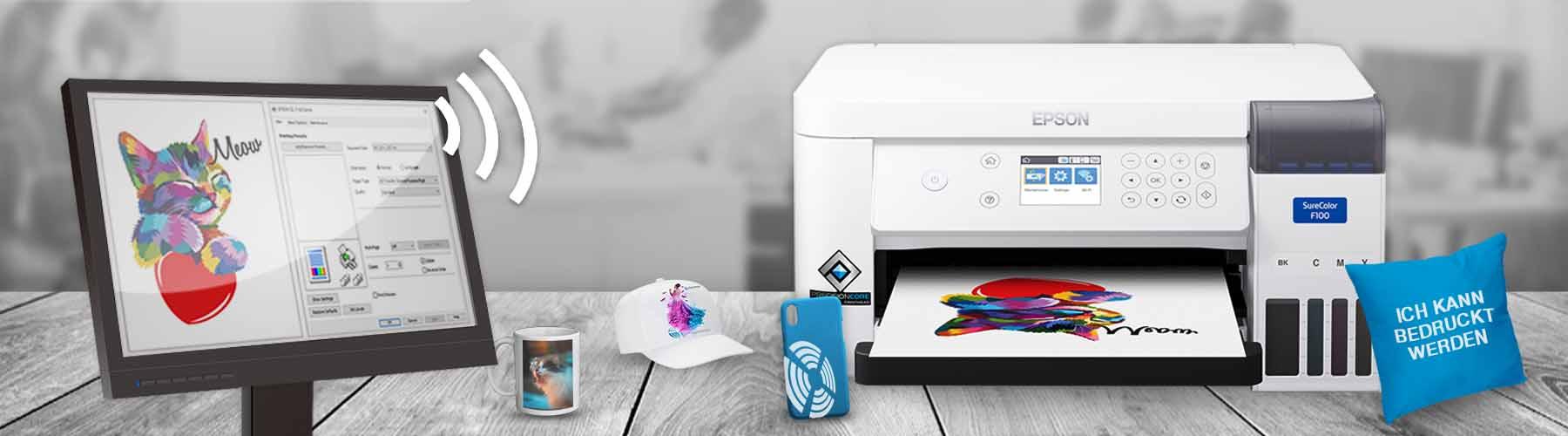 Mit dem Epson SC-F100 kleine Werbeartikel und personalisierte Geschenke wie Tassen, Mousepads, Smartphone-Hüllen und Schlüsselanhänger zu bedrucken.